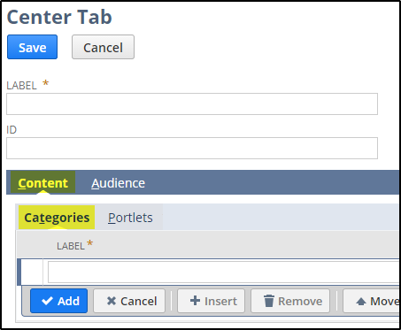 Center tab categories