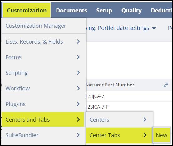 Create custom center tab