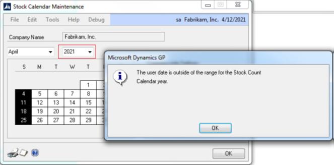 stock calendar maintenance