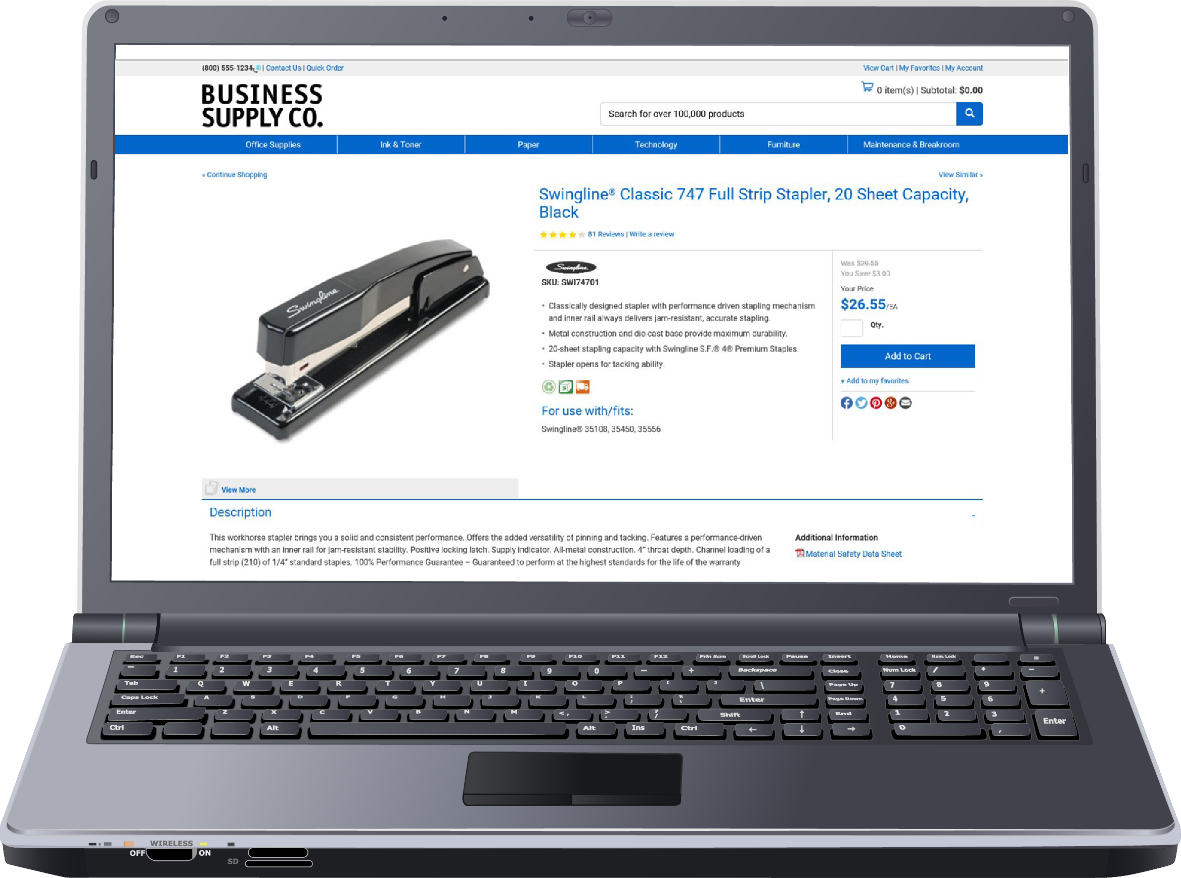 laptop with screenshot-product page