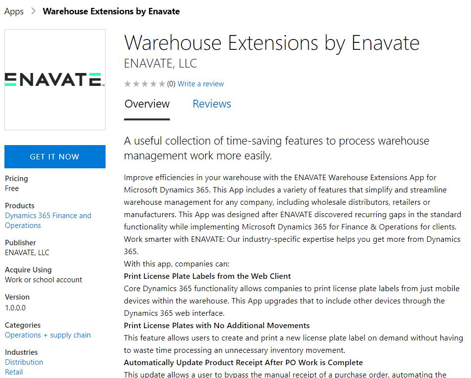ENAVATE Launches Microsoft Dynamics 365 Warehouse Extensions App